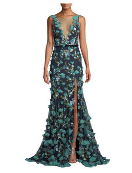 Plunging Illusion 3 D Flower Trumpet Gown by Marchesa Notte