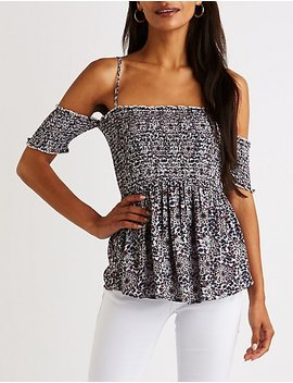 Off The Shoulder Smocked Top by Charlotte Russe