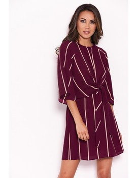 Plum Striped Tie Waist Mini Dress by Ax Paris