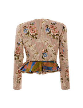 Janet Printed Cotton And Silk Blend Peplum Jacket by Brock Collection