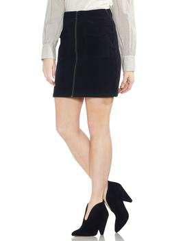 Washed Corduroy Zip Front Miniskirt by Vince Camuto