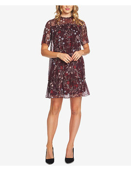Floral Print Ruffled A Line Dress by Ce Ce