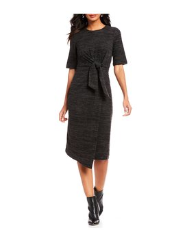 Tie Front Brushed Knit Midi Dress by Maggy London
