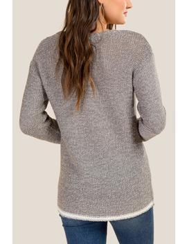 Teagan Contrast Hem Sweater by Francesca's