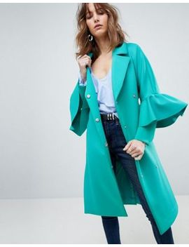 Asos Scuba Ruffle Sleeve Coat by Asos Collection