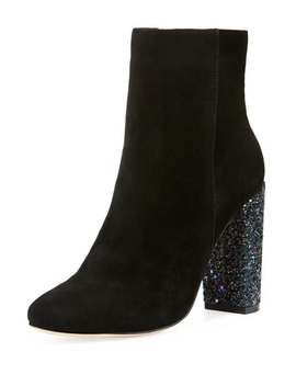 Bucasia Suede Booties With Glitter Heel by Neiman Marcus
