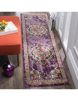 """Safavieh Monaco Collection Mnc243 D Vintage Oriental Bohemian Pink And Multi Distressed Runner (2'2"""" X 20') by Safavieh"""
