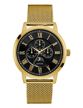 Men's Gold Tone Stainless Steel Mesh Bracelet Watch 43mm U0871 G2 by Guess