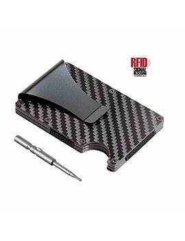 Blue Hunter Minimalist Carbon Fiber Slim Rfid Wallet, Business Card Holder With Money Clip by Blue Hunter