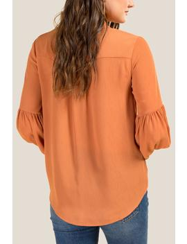 Krista Front Twist Button Blouse by Francesca's