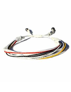 String Bracelet In Colors White, Black, Red, Blue And Yellow: Mens And Womens Nylon Cord Sports Fan Soccer Bracelet With Hematite Stones By Rumi Sumaq by Amazon