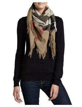 Check Extrafine Wool Scarf, House by Neiman Marcus