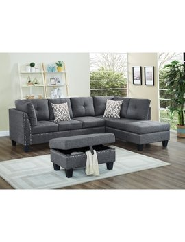 Linen Fabric Nail Head Sectional Sofa With Storage Ottoman by Generic