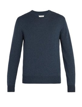 Elbow Patch Wool And Cotton Blend Sweater by Maison Margiela