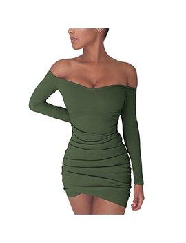 Chemenwin Women's Sexy Off Shoulder Long Sleeve Club Bodycon Tight Short Mini Tunic Dress by Chemenwin
