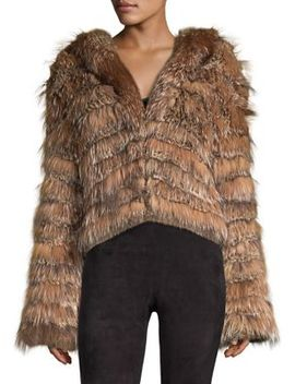 Nadia Hooded Fur Coat by Alice + Olivia