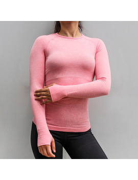 Binand Seamless Breathable Yoga Top Solid High Elastic Slim Workout Long Sleeve Women Bodybuilding Sport Gym Fitness Shirt by Binand