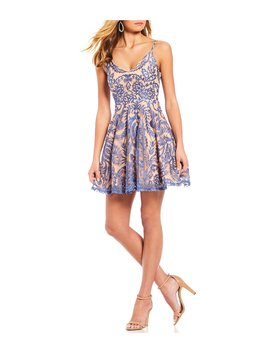 Scalloped V Neck Embroidered Fit And Flare Dress by Jodi Kristopher