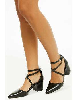 Faux Leather Pointed Toe Heels by Forever 21