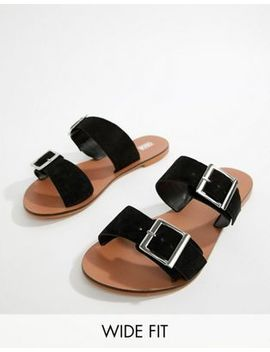 Asos Design Wide Fit Victorious Leather Buckle Sliders by Asos Design