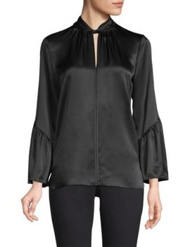 Laraib Twist Neckline Silk Blouse by Elie Tahari