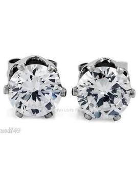 "1 Pair Cz Clear Square/Round Magnetic Clip On Earrings Studs Men Women by ""Handmade"""