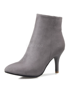 Grey Ankle Boots Women Suede Shoes Pointed Toe High Heel Booties by Milanoo
