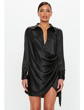 Peace + Love Black Textured Satin Wrap Dress by Missguided