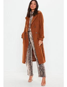Brown Formal Wool Trench Coat by Missguided