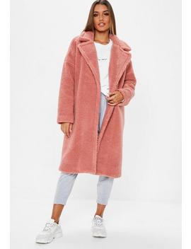 Blush Pink Chunky Borg Crombie Coat by Missguided