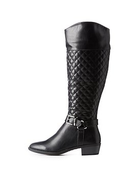 Quilted Riding Boots by Charlotte Russe