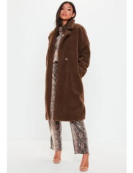 Brown Chunky Teddy Borg Jacket by Missguided