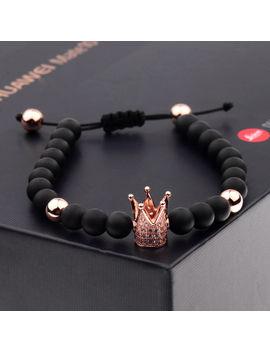 Gorgeous Crown Natural Stone Matte Black Charm Men's Cz Copper Bead Bracelet by Dou Vei