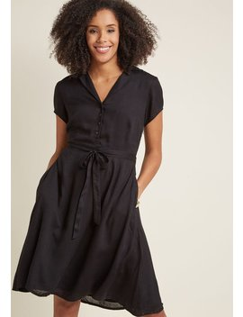 Retro Collared Shirt Dress In Black by Modcloth
