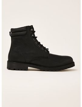 Black Leather Empire Lace Boots by Topman