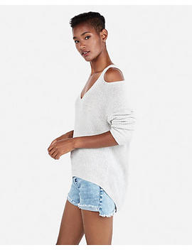 Slash Shoulder Slouch Back Tunic Sweater by Express
