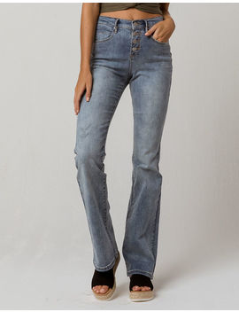 Sky And Sparrow Exposed Button High Waisted Womens Flare Jeans by Sky And Sparrow