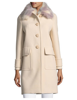 Button Front Cashmere Coat With Fur Collar by Miu Miu