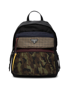 Black Camouflage Backpack by Prada
