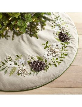 Woodland Wonders Embroidered Floral Tree Skirt by Pier1 Imports