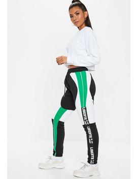 Teal Colour Block Joggers by Missguided