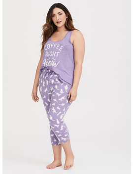 Purple Cropped Sleep Pant by Torrid