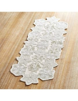 "White Snowflake Beaded 36"" Table Runner by Pier1 Imports"