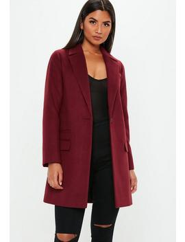 Burgundy Button Front Slim Coat by Missguided