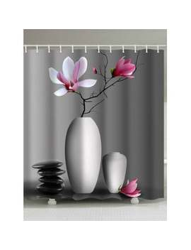 "<P>Flowers In Vase Printed Bathroom Shower Curtain</P><I Class=""Icon Down Js Tap Up Down""></I> by Dress Lily"