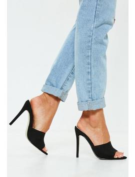 Black Faux Suede Peep Toe Mules by Missguided