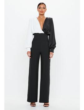 Peace + Love Black Contrast Piping Pants by Missguided