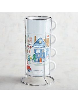 Christmas Town Stackable Mugs Set by Pier1 Imports