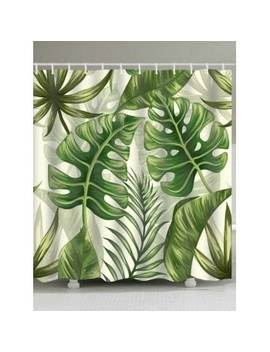 "<P>Tropical Plant Leaves Print Shower Curtain</P><I Class=""Icon Down Js Tap Up Down""></I> by Dress Lily"