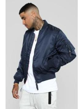 Ken Bomber Jacket   Navy by Fashion Nova